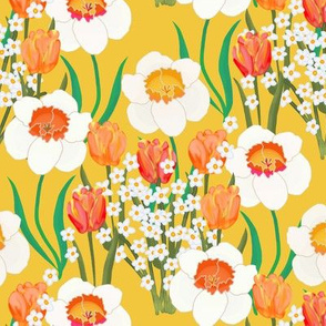 Spring Flowers Overall on Golden Yellow