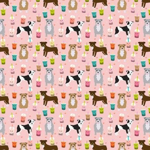 pitbull boba tea fabric (tiny) - cute kawaii bubble tea pitbulls design - pink