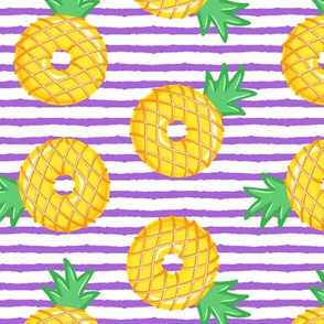Pineapple donuts - doughnuts - summer - purple stripes - LAD19