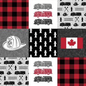 firefighter wholecloth - patchwork - red and black  - Canadian flag - C19BS