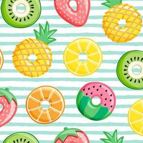 fruit donuts - summer doughnuts - aqua stripes - LAD19