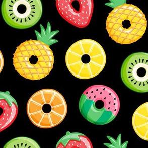 fruit donuts - summer doughnuts - black - LAD19