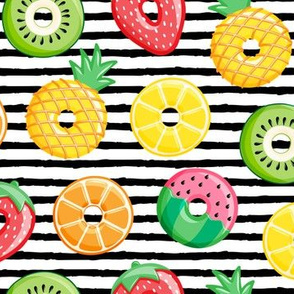 fruit donuts - summer doughnuts - black stripes - LAD19