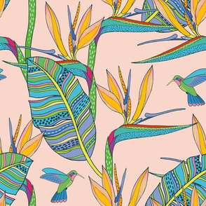 Boho Birds of Paradise on pink