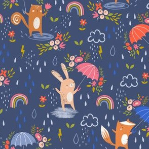 April Showers and flowers - Blue small repeat