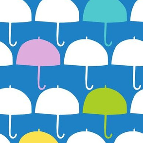April Showers umbrellas blue