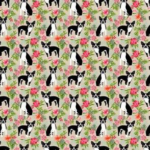 TINY - Boston Terrier hawaiian fabric - hawaiian floral fabric, dog fabric, tropical dog fabric,