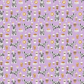 TINY - dalmatians dog coffee fabric cute dogs and coffee print dogs and coffee pattern print design cute dalmatians dog - lavender