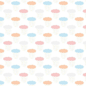 Clouds and raindrops soft pastel colours baby blue, apricot, rose