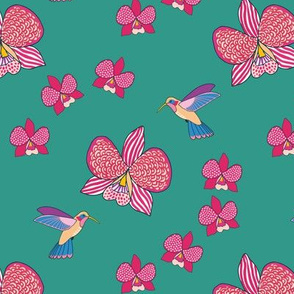 Boho Orchids and Colibri on teal