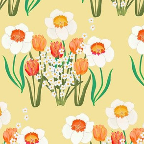 Spring Flowers on Yellow