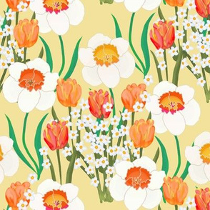 Spring Flowers Overall on Yellow