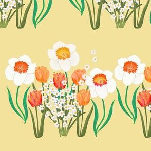 Spring Flower Stripe on Yellow