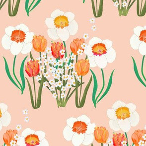Spring Flowers on Pink