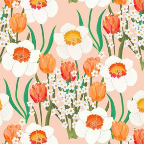Spring Flowers Overall on Pink