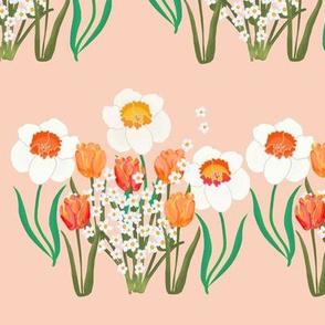 Spring Flowers Stripe on Pink