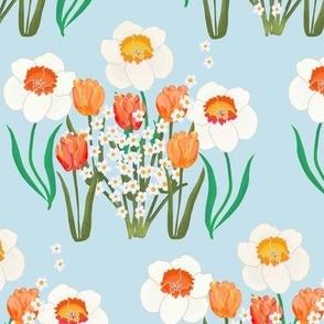 Spring Flowers on Blue