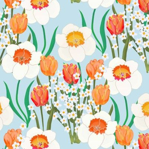 Spring Flowers Overall on Blue
