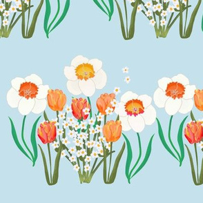 Spring Flowers Stripe on Blue