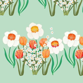 Spring Flowers Stripe on Green