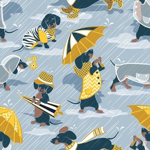 Small scale // Ready For a Rainy Walk // pastel blue background navy blue dachshunds dogs with yellow and transparent rain coats and umbrellas