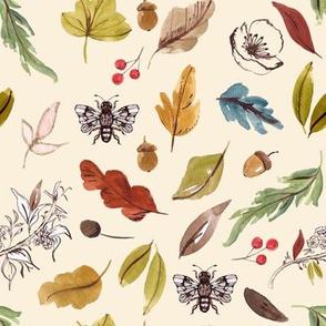 Natural Leaves // Citrine White