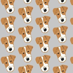 Wire Fox Terrier - Jack Russell Terrier - tan on light blue gray