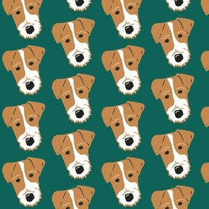 Wire Fox Terrier - Jack Russell Terrier - Tan on dark green
