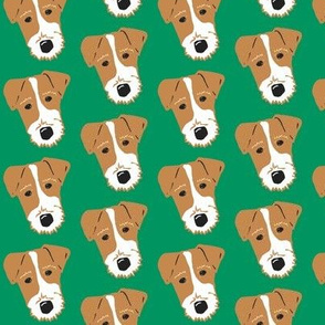 Wire Fox Terrier - Jack Russell Terrier - Tan on Green