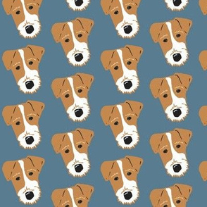 Wire Fox Terrier - Jack Russell Terrier - tan on denim blue