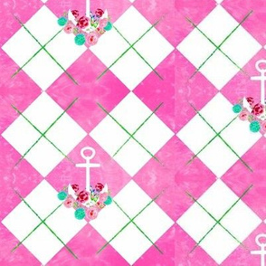 argyle anchor floral watercolor pink HD  -MED525