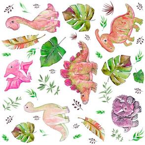 "18"" Retro Colors Pink & Green Dinos"