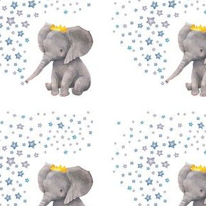 "4"" Baby Boy Elephant with Stars Block"
