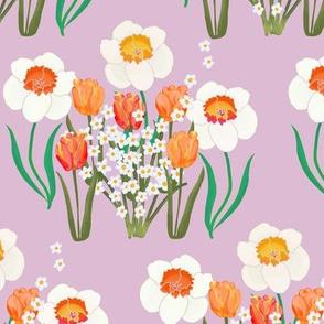 Spring Flowers on Purple