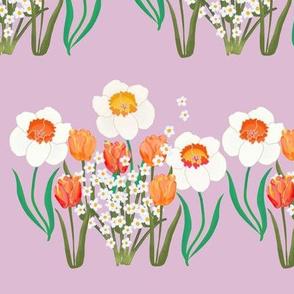 Spring Flower Stripe on Purple