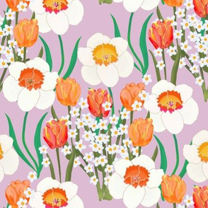 Spring Flowers Overall on Purple