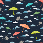 Spring Shower at Midnight // April Showers // Rain Clouds, Umbrellas, Water Droplets, Watering Can, Garden, Dark Sky, Colorful Umbrellas, Seasonal Weather