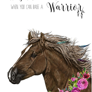 "27""x36"" / 2 to 1 Yard of Minky / Warrior Horse Quote /"