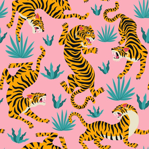 Tigers Dancing on Pink, Asian Tiger, Gold Orange and Black Animal Print Champs