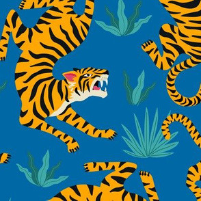 Tigers Dancing on Blue, Asian Tiger, Gold Orange and Black Animal Print Champs
