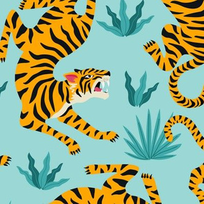 Tigers Dancing on Light Green, Asian Tiger, Gold Orange and Black Animal Print Champs