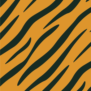 Tiger Stripes Black and Orange Animal Print Champs on Fading or Gradient Background