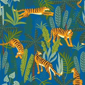 Tiger Dancing in the Jungle on Blue Background,Gold Orange and Black Animal Print Champs on Fading or Gradient Background