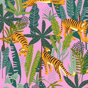 Tiger Dancing in the Jungle on Pink Background,Gold Orange and Black Animal Print Champs on Fading or Gradient Background