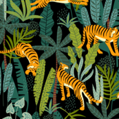 Tiger Dancing in the Jungle on Black Background, Gold Orange and Black Animal Print Champs on Fading or Gradient Background