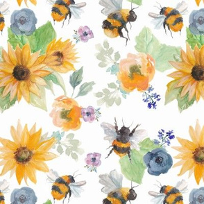Watercolour Bees with Sunflowers