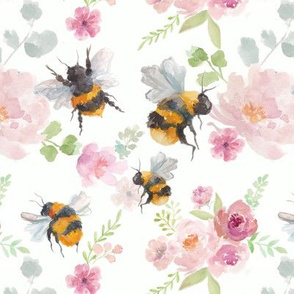 Watercolour Bees with Pink Florals