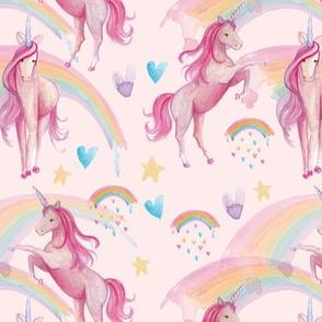 Pastel Pink Unicorns and Rainbows