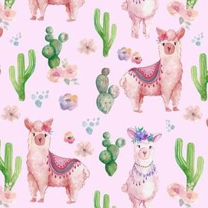 Watercolour Llamas and Cacti