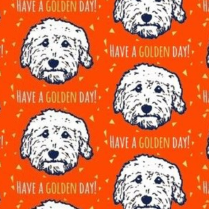 Have a golden day - goldendoodle fabric in orange